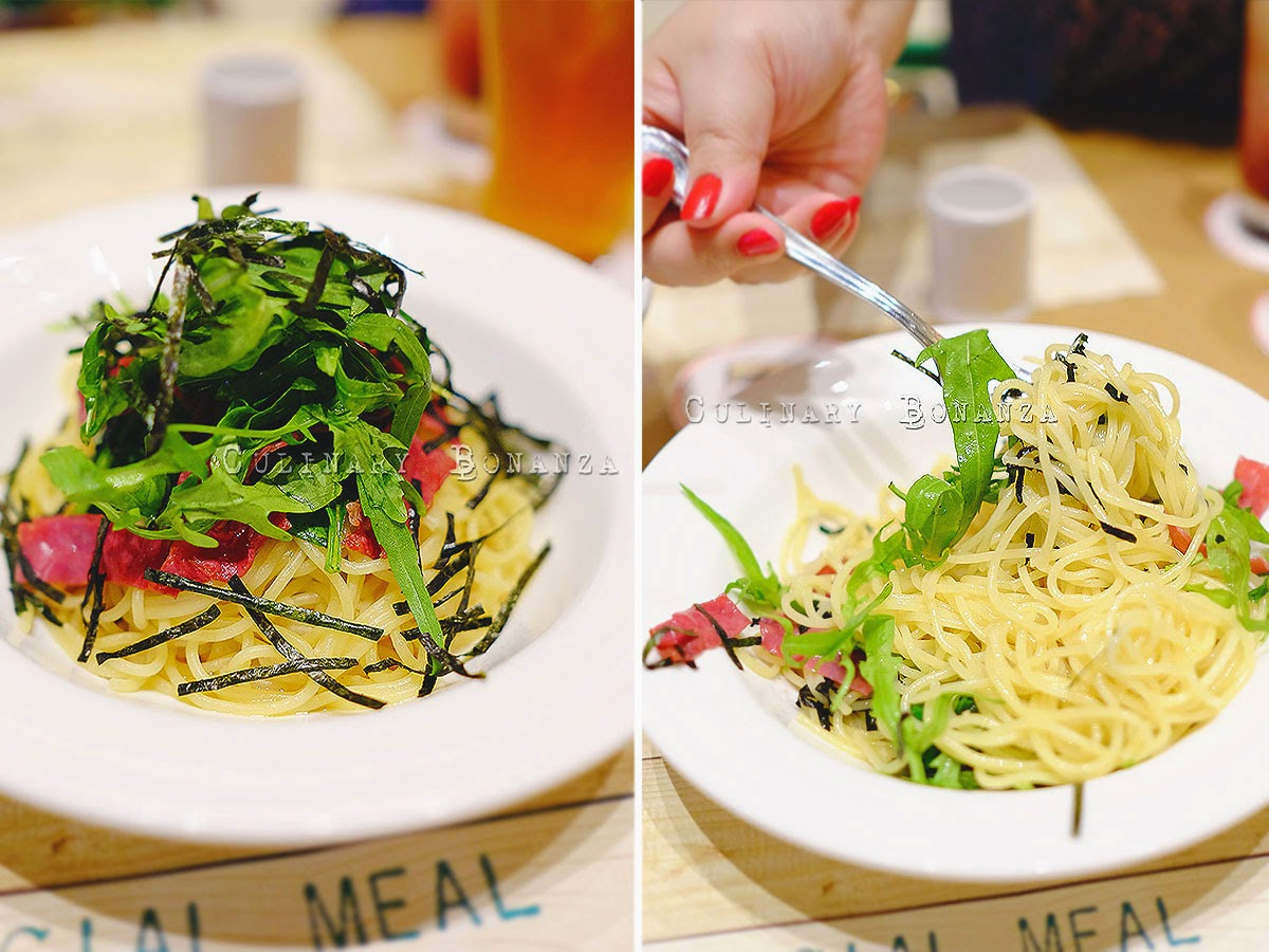 Wafu Soy Sauce Based Pasta with Smoked Beef, Spinach and Rucola