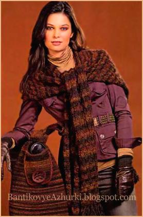 Вязанный комплект: шаль-шарф и сумка спицами