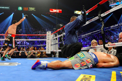 Pacquiao on the canvass after TKO by Marquez