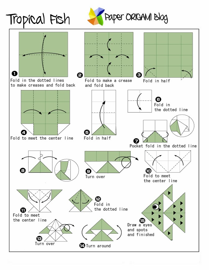 Sea creatures tropical fish origami paper origami guide for Origami fish instructions