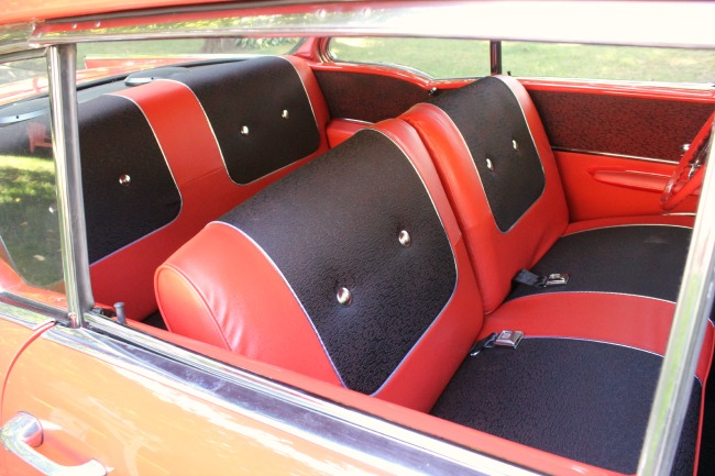 Beautifully restored interior of 57 Chevy Bel Air