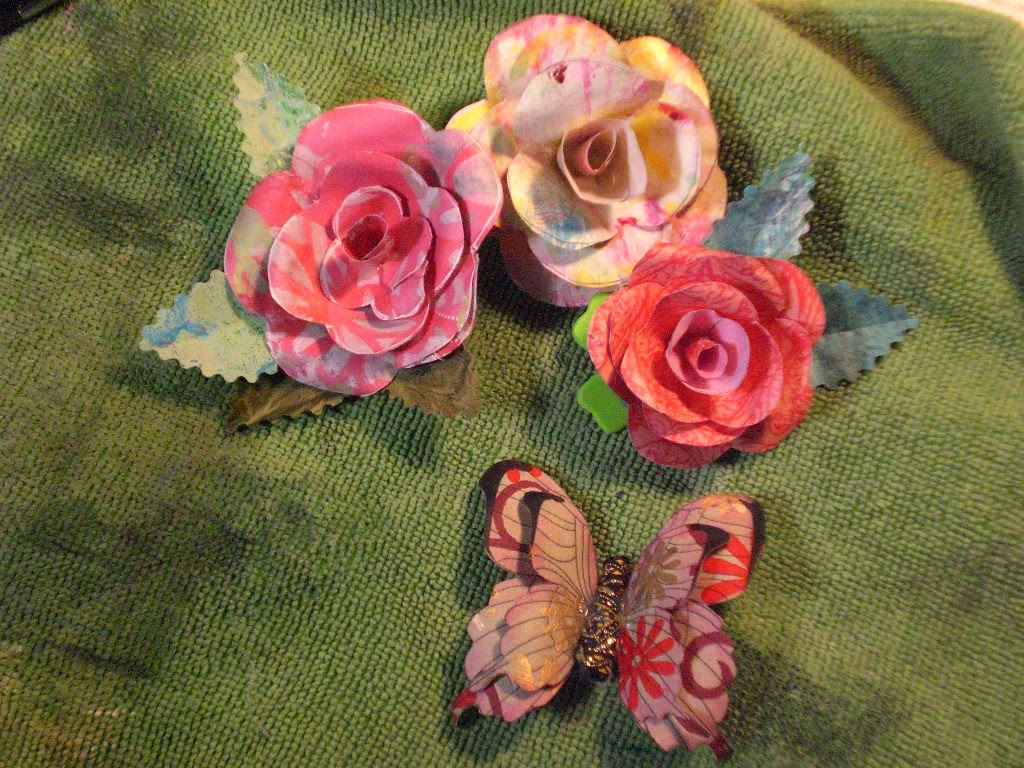 Paper paint collage exploring mixed media art for Painted paper flowers
