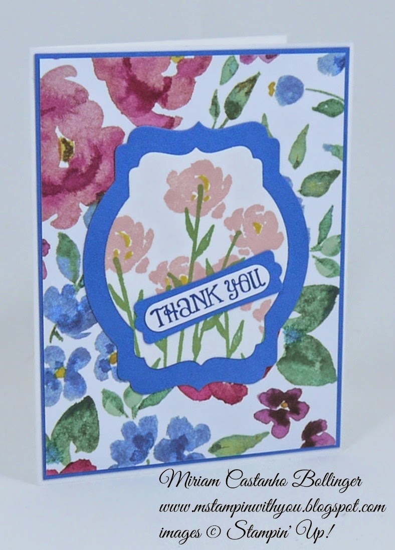 Miriam Castanho Bollinger, #mstampinwithyou, stampin up, demonstrator, ppa, thank you, painted blossoms dsp, painted petals stamp set, lots of thanks, big shot, deco labels collections, word window, modern label punch, su