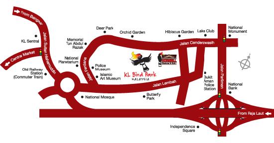 Lokasi Peta Map Taman Burung KL - Kuala Lumpur Bird Park