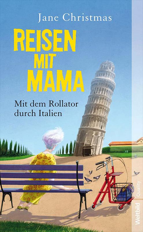 Book Cover Jane Christmas - Reisen mit Mama - illustration im Stil von Gerhard Glück - eher humorvoll und farbenfroh