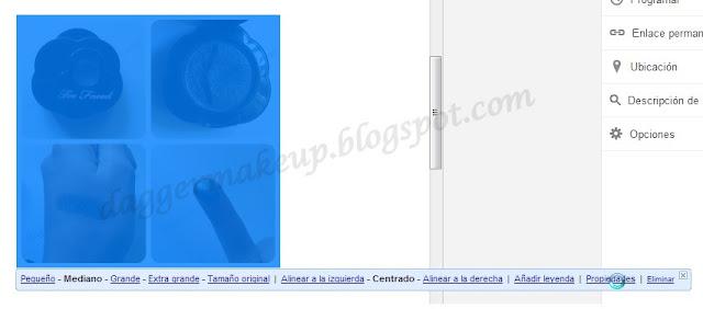 Menú emergente que aparece al añadir una imagen a un post en Blogger