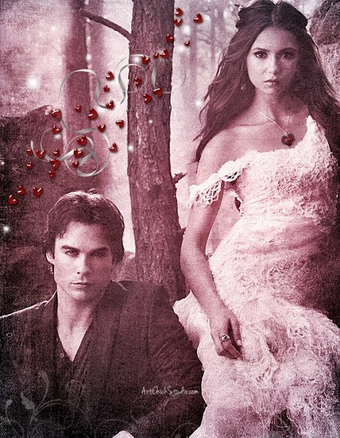 Damon and Elena Hearts TVD Digital Art