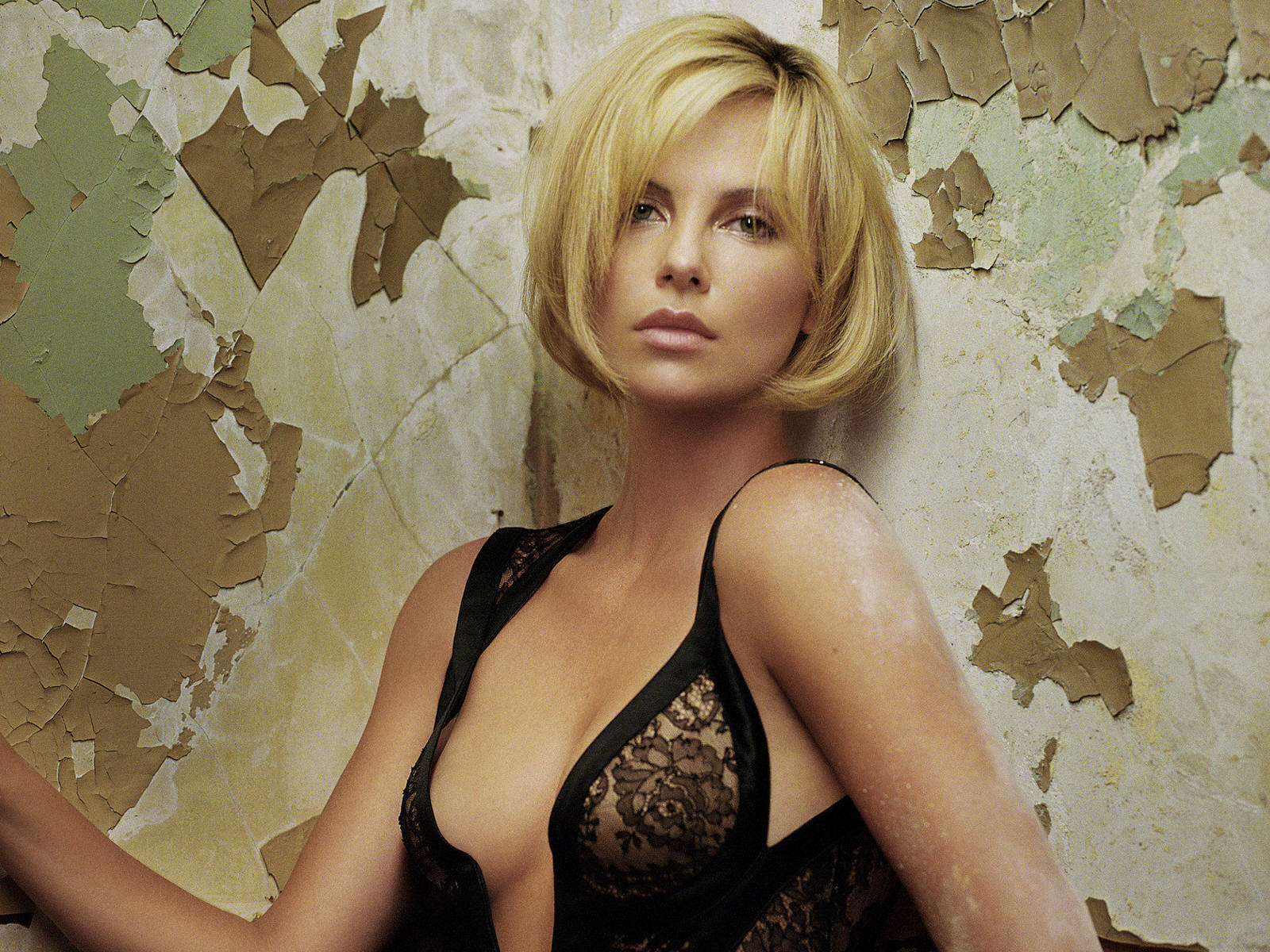 charlize theron black see through top
