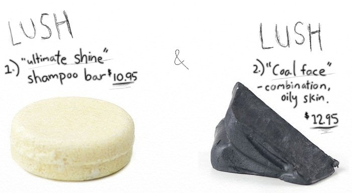 LUSH ultimate shine shampoo bar and LUSH coal face