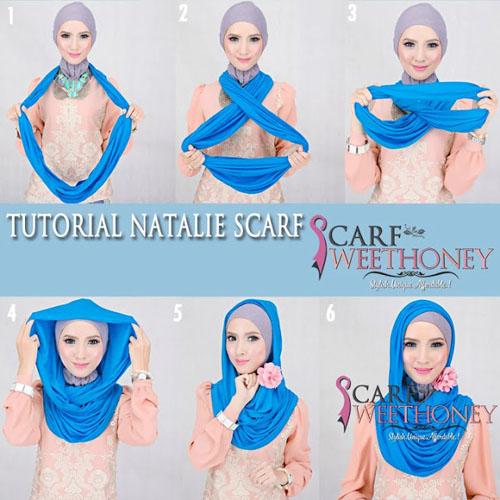cara memakai hijab modern scarf 2