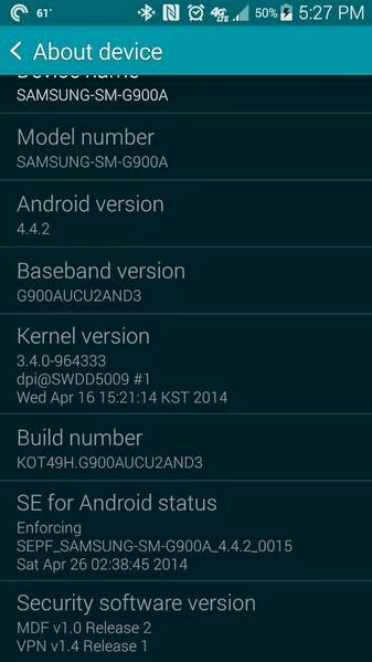 Samsung Galaxy S5 for AT&T receives software update