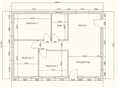 Plan of a Bungalow drawn on AutoCAD 2010