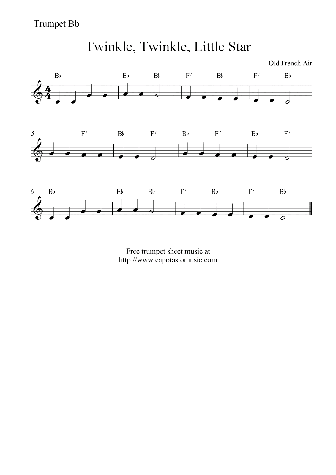 Twinkle twinkle little star free trumpet sheet music notes hexwebz Choice Image