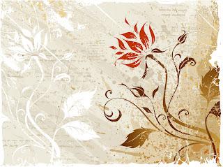 グランジスタイルの植物柄背景 Vector Grunge Floral イラスト素材