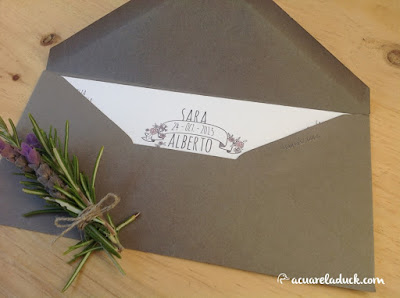 invitación boda lavanda