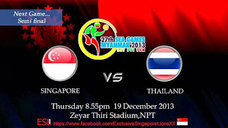 Thailand vs Singapura Semifinal Sea Games 2013