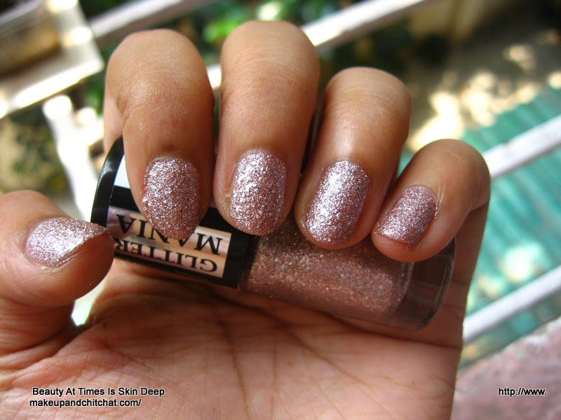 Day light photo of Maybelline Glittermania Colorshow in Pink Champagne