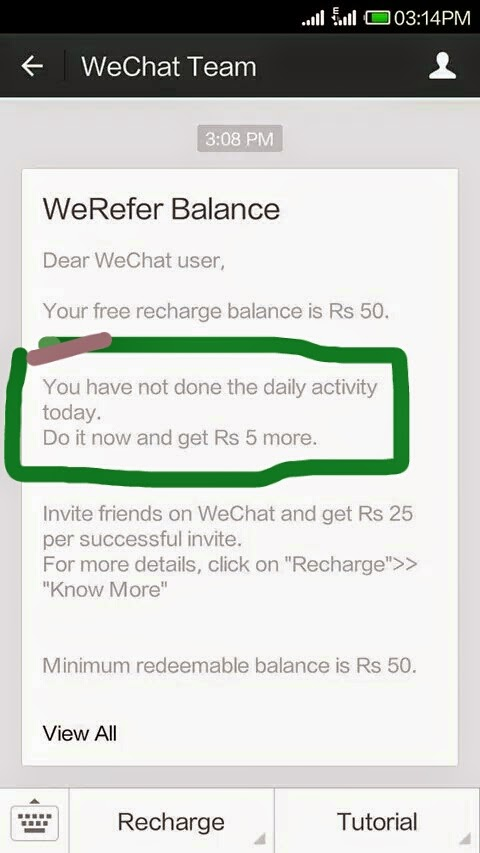 WeChat WeRefer WeReward Offer Started ( New )  http://latestfreerechargetrickz.blogspot.com