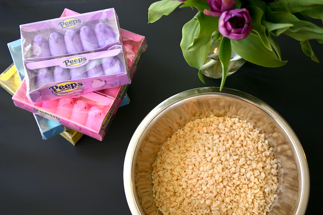 Bakergirl: Peeps Rice Krispie Treats {...or how I accidentally browned ...