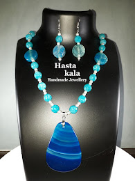 A Cool Sky Blue colour Gemstone Beads Necklace with Blue colour Pendant