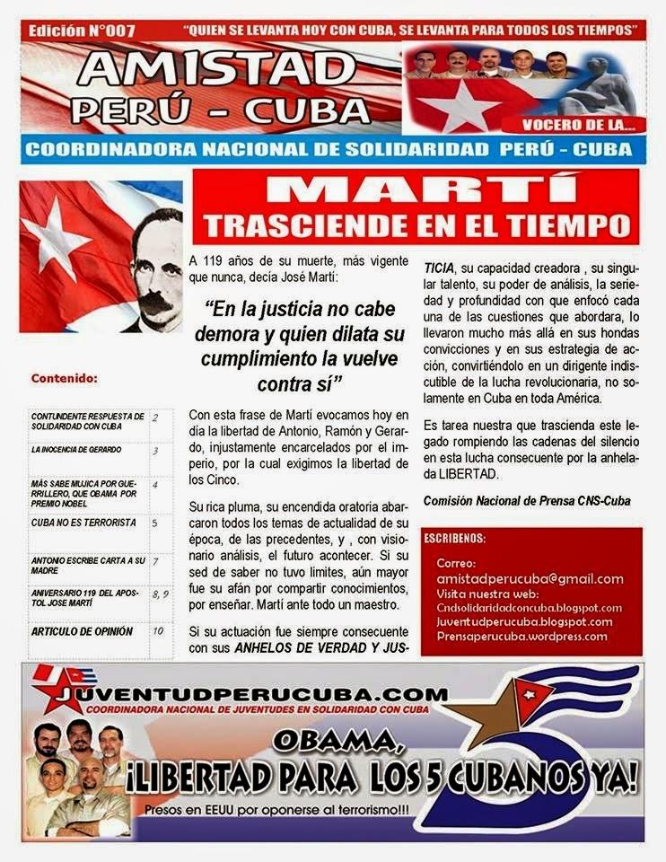 """BOLETÍN Nª007 """"AMISTAD PERÚ CUBA"""""""