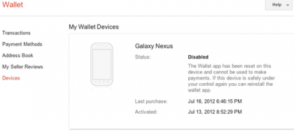 Google Wallet remotely disables your phone