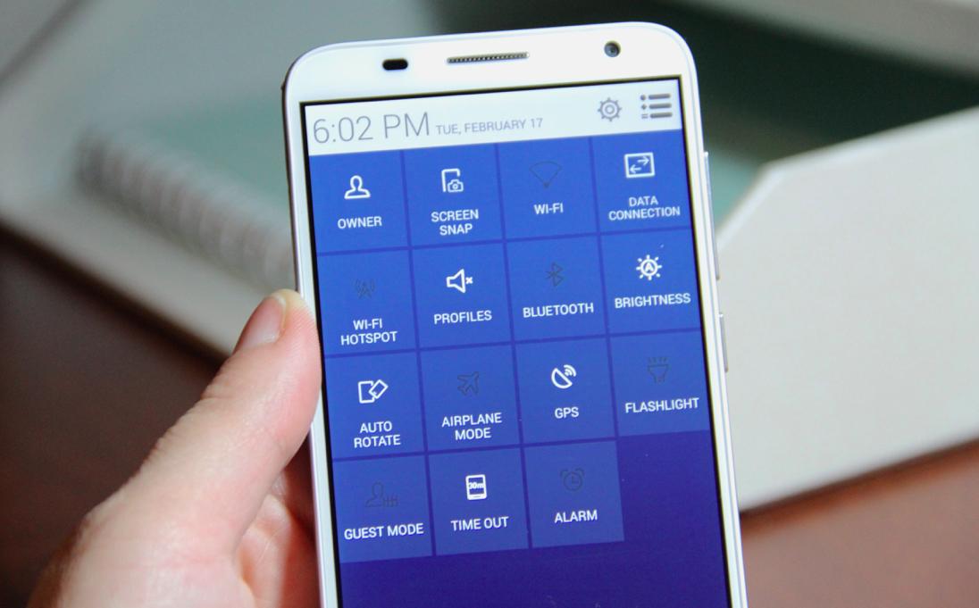 Alcatel OneTouch Idol 2 S Smartphone quick settings menu