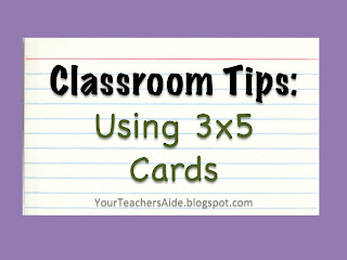 http://yourteachersaide.blogspot.com/2013/05/using-3x5-cards-in-your-classroom.html