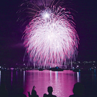 Purple fireworks display