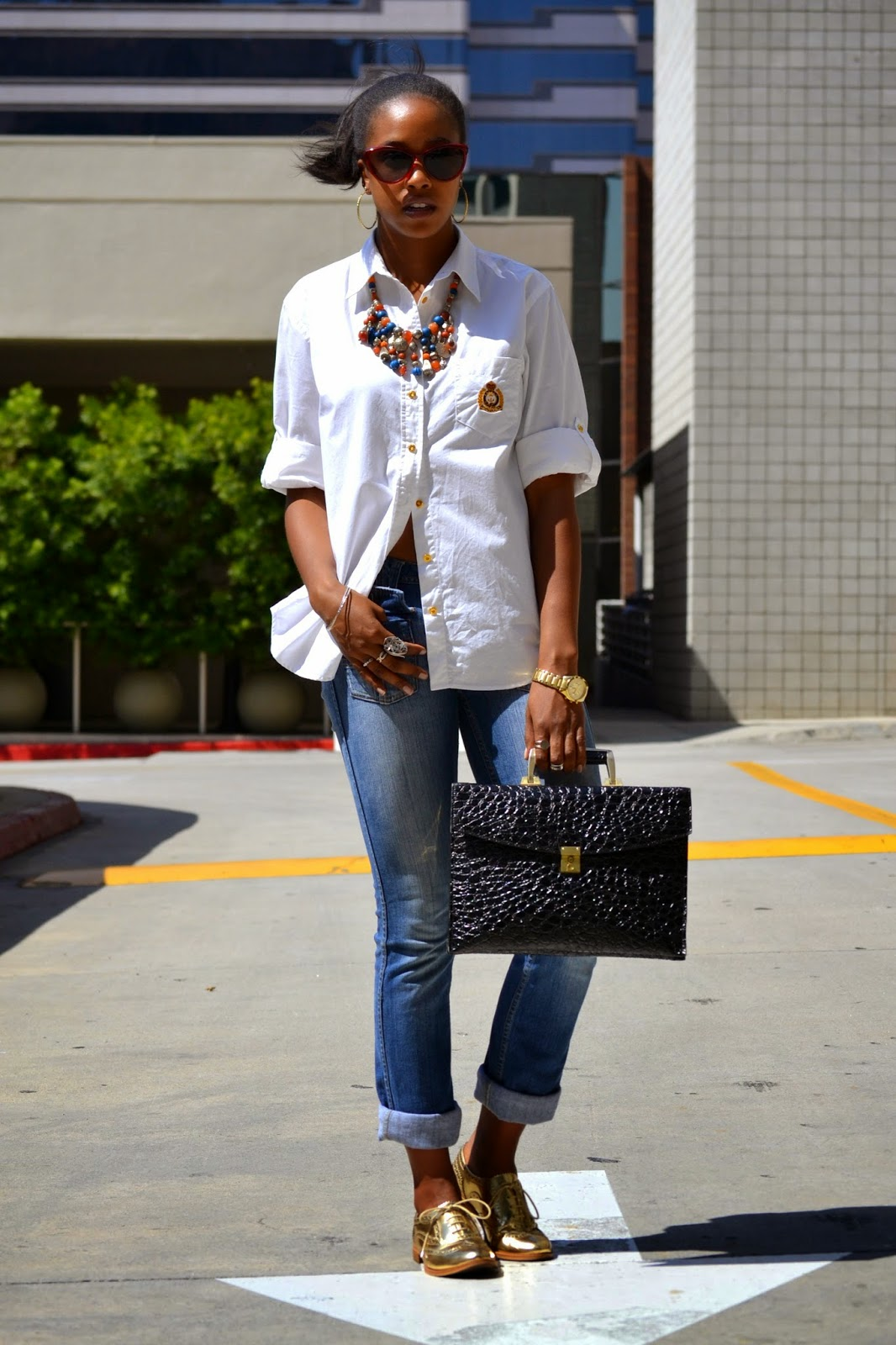 how to style a Ralph Lauren button down with rolled sleeves
