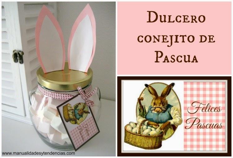 DIY Dulcero con orejas de conejo de Pascua / Easter bunny jar