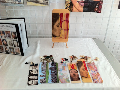 sunnyside beach, sunnyside pavilion, sunnyside beach juried art show, sunnyside beach art show, malinda prudhomme, mixed media artist, pendant necklace artist sunnyside beach, portrait artist