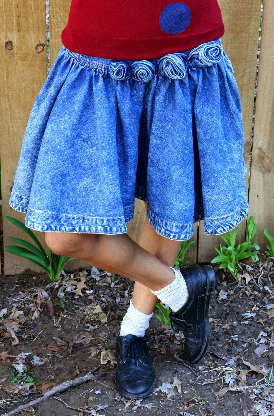 denim skirt and oxfords