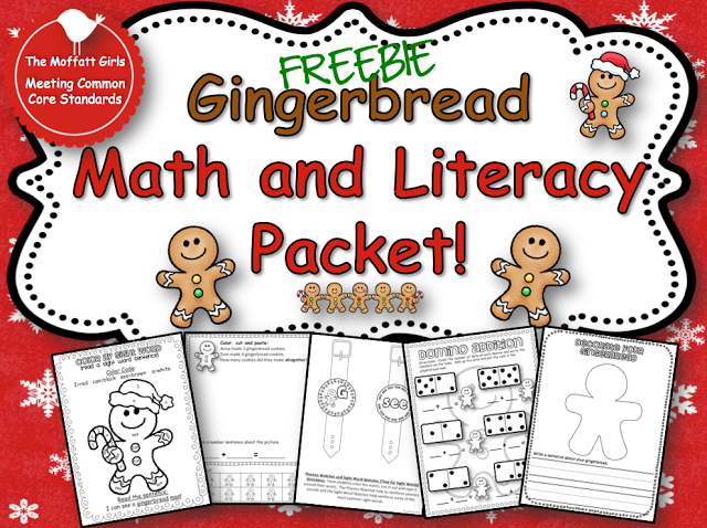 Gingerbread Math and Literacy FREEBIE from The Moffatt Girls!