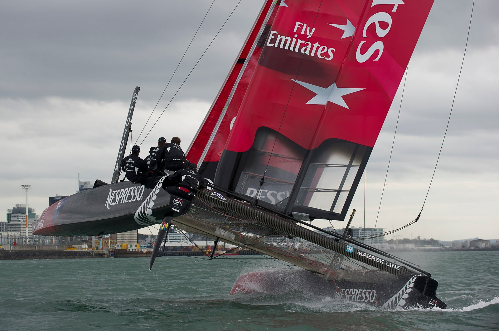 The Emirates Team NZ yacht with her new livery. Auckland, 2 June 2011.