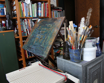 easel in artist studio