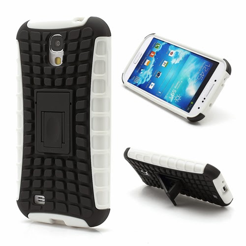 Tough Rugged TPU & PC Stand Hybrid Case for Samsung Galaxy S IV S4 i9500 i9502 i9505 - Black / White