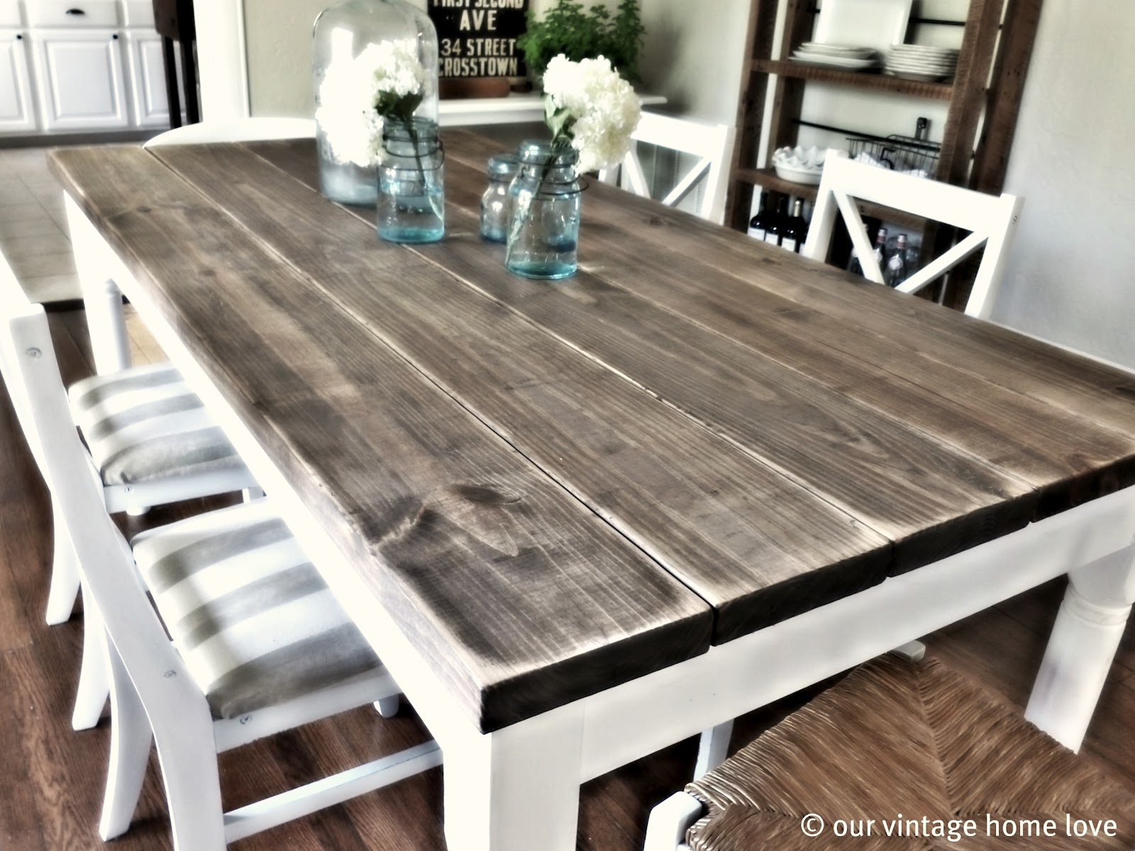 old plans farm farmhouse distressed table dining wood tables room
