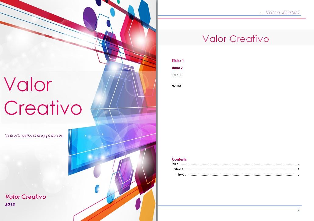 Valor Creativo: Plantilla Word 2003, 2007 y 2010 - Septiembre 2013