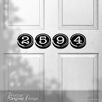 Typewriter Style Custom House Number Door Decal