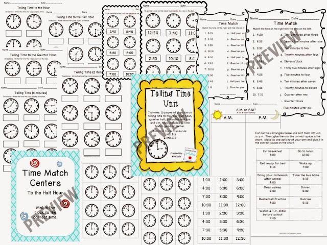 http://www.teacherspayteachers.com/Product/Telling-Time-Worksheet-Pack-CenterGame-971760