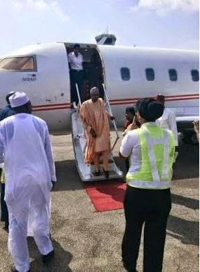 Buhari arrives Abuja to await declaration of results by INEC