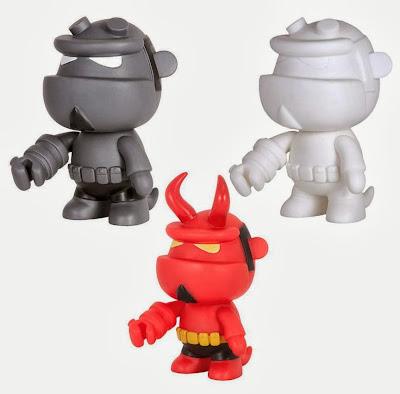 "Hellboy 5"" Mini Qee Wave 2 Vinyl Figures by Toy2R & Dark Horse - Monotone Hellboy, Horned Hellboy & Blank Do It Your Self Hellboy"