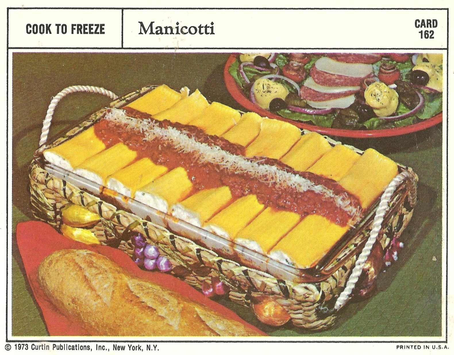 Bad and ugly of retro food 1970s finest recipe cards 17 such perfect manicotti stuffed correctly sauced evenly sprinkle of cheese whats this i see ripped noodles and sauce leaking into the spaces forumfinder Image collections