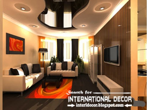 New stretch ceiling designs for living room, black ceiling, suspended stretch ceiling