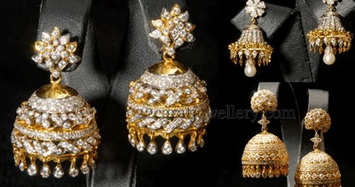 Indian Diamond Jhumkas Or Buttalu Jewellery Designs