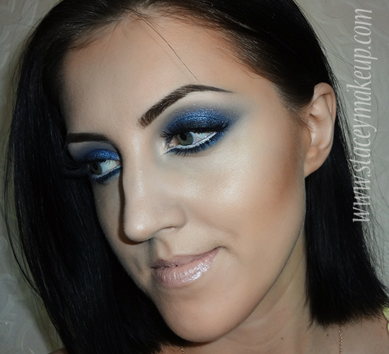blue glittery smoky eyes