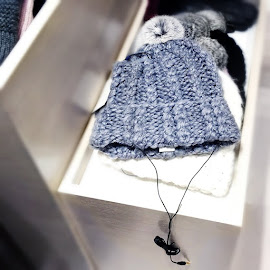 Rebecca Minkoff Always On Headphone cable knit beanies with pom poms