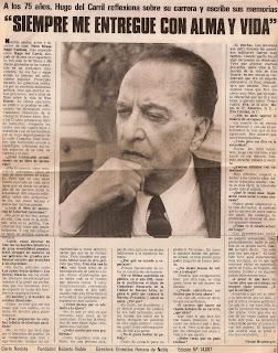 Reportaje a Hugo del Carril a sus 75 años, de Clarin