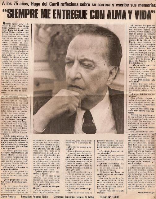 Reportaje a Hugo del Carril a sus 75 años, de diario Clarin